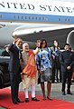 Barack Obama, First Lady Mrs. Michelle Obama and the Prime Minister, Shri Narendra Modi at Palam Airport, in New Delhi. The Minister of State (Independent Charge) for Power, Coal and New and Renewable Energy.jpg