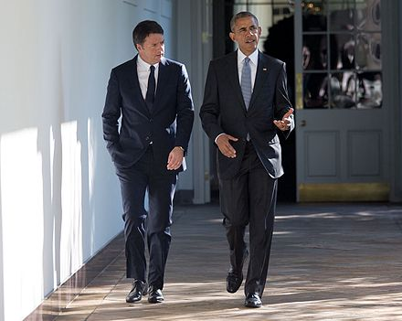 Obama meets with Italian Prime Minister Matteo Renzi at the White House, October 2016 Barack Obama and Matteo Renzi October 2016, 1.jpg