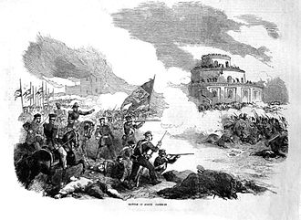 Battle of Caseros - Lithography of the Brazilian 1st Division during the battle