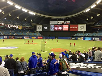 Olympic Stadium (Montreal) - Olympic Stadium's blue roof and new scoreboard installed in 2015