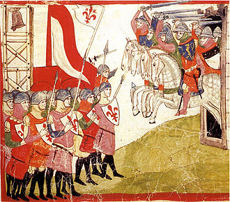 Republic of Siena - A miniature depicting the Battle of Montaperti, from the Nuova Cronica (14th century)