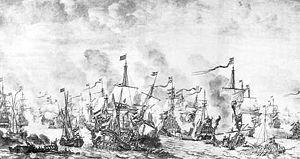 Battle of the Sound - Drawing by Willem van de Velde the Elder