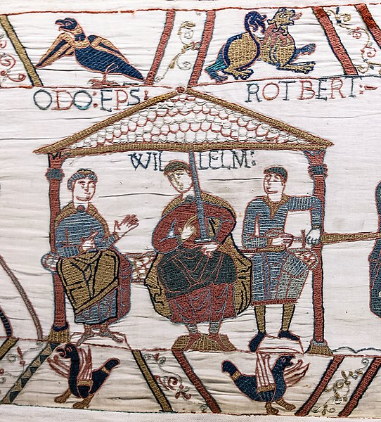 Tiedosto:Bayeux Tapestry scene44 William Odo Robert.jpg