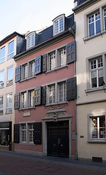 Beethoven's birthplace at Bonngasse 20, Bonn, now the Beethoven House museum Beethoven house of birth Bonn 2008.jpg