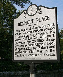 Bennett Place marker