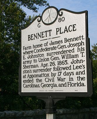 Conclusion of the American Civil War - Historical marker at Bennett Place, where Gen. Johnston and his departments and armies surrendered