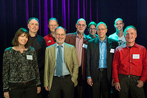 Stichting Skepsis - Skepsis board at the Skepsis Congres 2015. Left to right: Agnes Tieben, Mario Tamboer, Gert Jan van 't Land, Frank Israel, Jan Willem Nienhuys, Pepijn van Erp, Dick Zeilstra, Maarten Koller and Dirk Koppenaal.