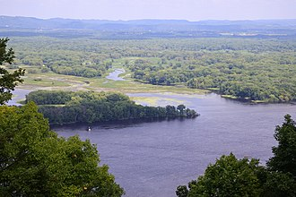 Black River (Wisconsin) - Delta of the Black River at the Mississippi River across from Great River Bluffs State Park, Minnesota.