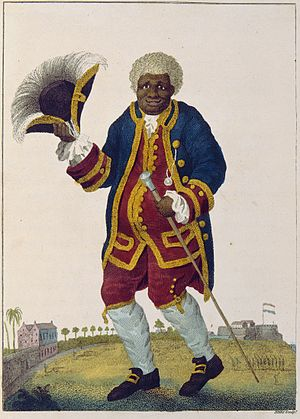 """Graman Quassi - """"The Celebrated Graman Quacy"""", illustration by William Blake in Capt. John Gabriel Stedman, 1796 Narrative, of a five-years' expedition against the revolted Negroes of Surinam. This image represents copy 2, currently held by the Huntington Library and Art Gallery."""