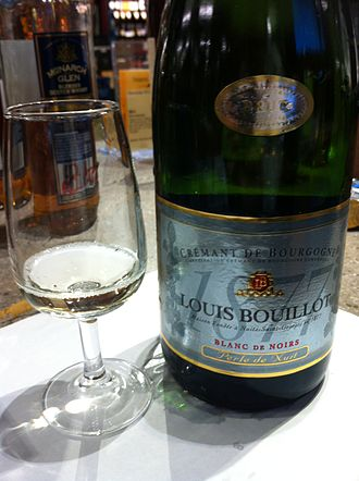 Burgundy wine - A sparkling Crémant de Bourgogne blanc de noirs (white of blacks) made from Pinot noir and Gamay.