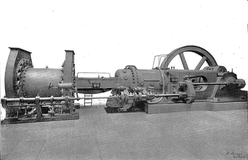 Datei:Blast furnace gas engine with blowing cylinder (Rankin Kennedy, Modern Engines, Vol II).jpg