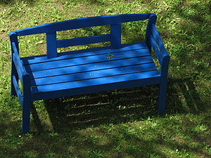 Blue wooden bench.