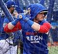 Blue Jays third baseman Josh Donaldson takes batting practice before the AL Wild Card Game. (29507633794).jpg