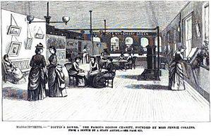 Jennie Collins - Artist's depiction of Boffin's Bower. Frank Leslie's Illustrated Newspaper, 1887.
