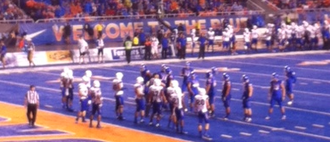 2013 Boise State Broncos football team - Boise State kicking an extra point in the second half.