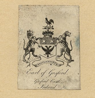 Earl of Gosford - Bookplate showing the coat of arms of the Earl of Gosford