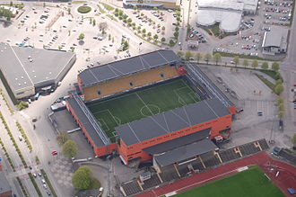 Borås Arena - Borås Arena seen from above where it is connected with old Ryavallen.