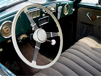 Borgward Hansa 1500 - The view through the steering wheel was remarkably unencumbered. Also visible here are the column-mounted gear shift and the front bench seat which made the Hansa, unusually in Europe, a genuine six-seater.