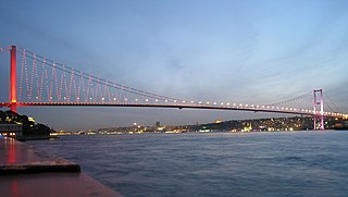 Bridge on Bosphorus in Istanbul, Turkey