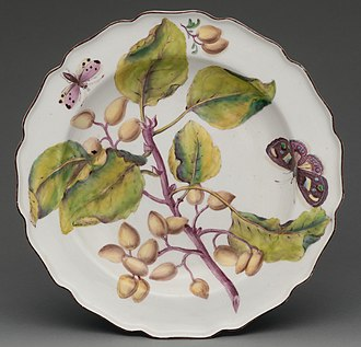 "Chelsea porcelain factory - ""Botanical"" red anchor plate with spray of fruiting Indian bean tree, c. 1755"