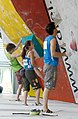 Boulder Worldcup Vienna 29-05-2010a semifinals079 Kilian Fischhuber, Anna Stöhr, Adam Ondra.jpg