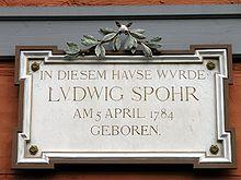 Gedenktafel an Spohrs Geburtshaus, Braunschweig, Spohrplatz 7 (Quelle: Wikimedia)