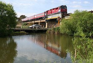 Warrnambool V/Line rail service - Warrnambool bound V/Line train crossing the Barwon River in Geelong