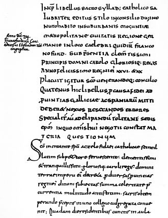 Council of Frankfurt - Mention of Frankfurt as Franconofurd in the Sacrosyllabus of Paulinus of Aquileia of 794