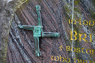 Brigid's cross - A Brigid's cross symbol on a gravestone in Ireland