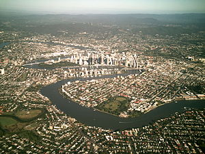 New Farm, Queensland - The suburb of New Farm including New Farm Park is located on the Brisbane River.