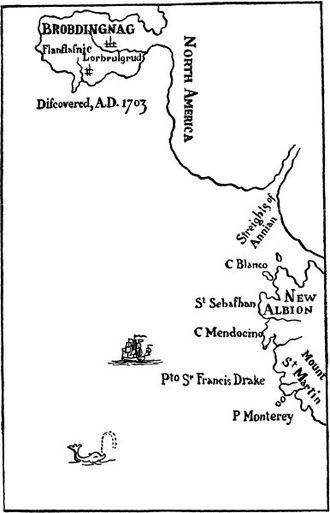 Brobdingnag - Map of Brobdingnag (original map, Pt II, Gulliver's Travels)