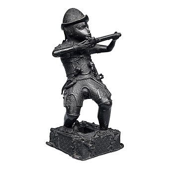 Bronze figure of a Portuguese soldier made by Benin culture in West Africa around 1600 Bronze Figure of Portuguese Soldier.jpg