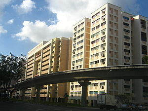 Bukit Panjang - A scene in Bukit Panjang. The brown bridge in the photo is a LRT viaduct, on which LRT trains travel.