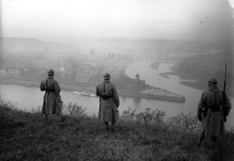 Allied occupation of the Rhineland - French troops observing the Rhine at Deutsches Eck, Coblence.