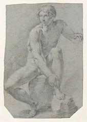 Akt siedzącego mężczyzny
