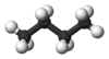 Ball and stick model of butane