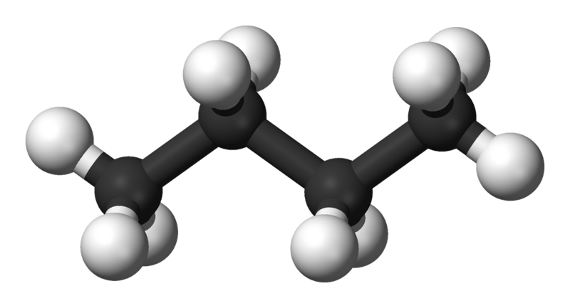 Modell av en butanmolekyl.