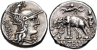 Denarius of C. Caecilius Metellus Caprarius, 125 BC. The reverse depicts the triumph of his great-grandfather Lucius, with the elephants he had captured at Panormos. The elephant had thence become the emblem of the powerful Caecilii Metelli. C. Caecilius Metellus Caprarius, denarius, 125 BC, RRC 269-1.jpg