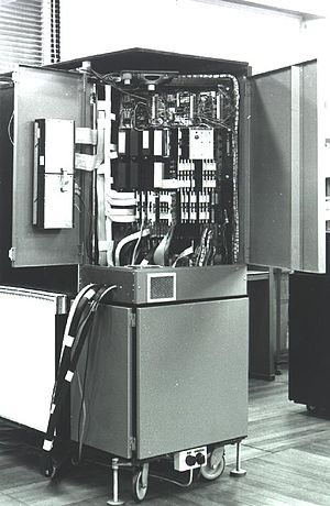 CAP computer - Archive photo from 1979, showing the inside of the machine and its connection to the Cambridge Ring.
