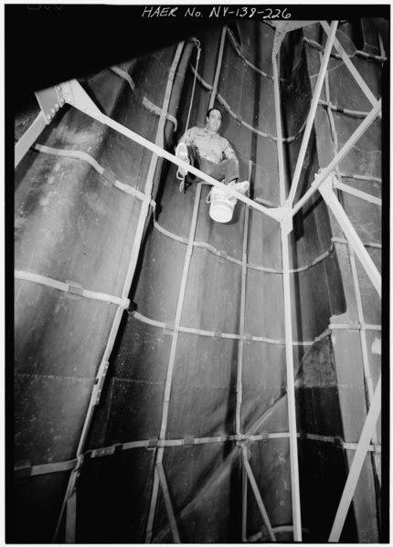 File:CHARLIE DE LEO, KEEPER OF THE FLAME AND THE INSIDE OF THE STATUE. - Statue of Liberty, Liberty Island, Manhattan, New York, New York County, NY HAER NY,31-NEYO,89-226.tif