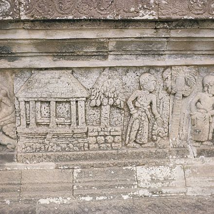 Bas relief from Candi Penataran describes the Javanese-style pendopo pavilion, commonly found across Java and Bali. COLLECTIE TROPENMUSEUM Bas-reliefs op het Pendopo Terras Panataran tempelcomplex TMnr 20027152.jpg