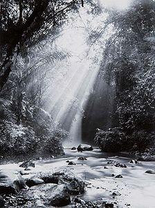 The Dago waterfall near Bandung, showing Crepuscular rays (1920 - 1932)