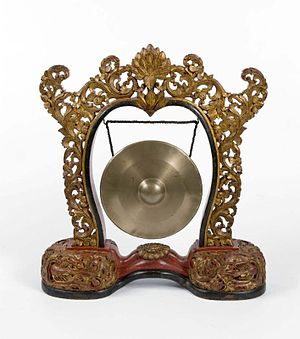 Gong, hanging in a frame, part of the Gamelan ...
