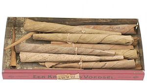 Kretek - Kreteks from the 1910s, containing resin, nutmeg, cumin, clove, and tobacco wrapped in banana leaves.