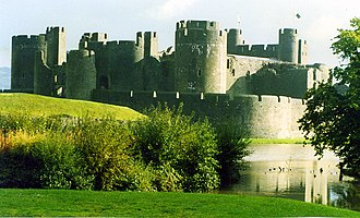 Wales in the Middle Ages - The construction of Caerphilly Castle (pictured) between 1268 and 1271 by Gilbert de Clare led to a dispute between Llywelyn ap Gruffudd and the English crown, one of the issues which led to the wars of 1277 and 1282 and the end of Welsh independence