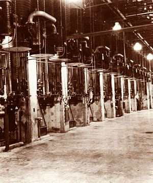 Diffusion pump - Diffusion pumps used on the Calutron mass spectrometers during the Manhattan Project.