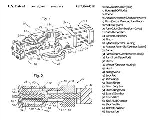 Blowout preventer - Cameron International Corporation's EVO Ram BOP Patent Drawing (with legend)