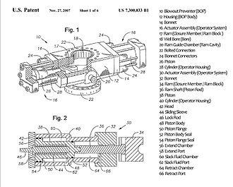 Blowout preventer - Cameron International Corporation's EVO Ram BOP Patent Drawing (with legend)
