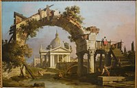 Canaletto - Landscape with a Villa seen through a ruined Arch.jpg