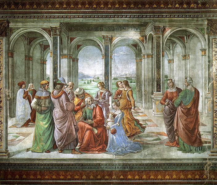 File:Cappella tornabuoni, 13, imposizione del nome al battista.jpg